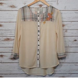 Anthropologie   Nic & Mo embroidered button up top